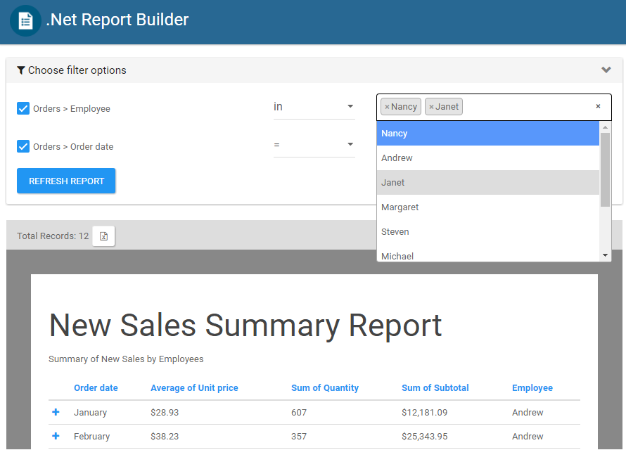 Report Select Multiple Filters